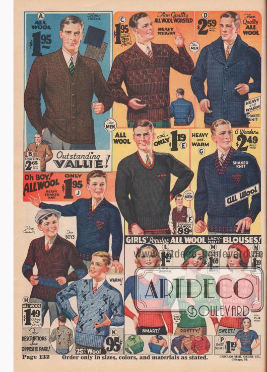 Stickpullover aus Baumwolle für Männer, Jungen und Mädchen.