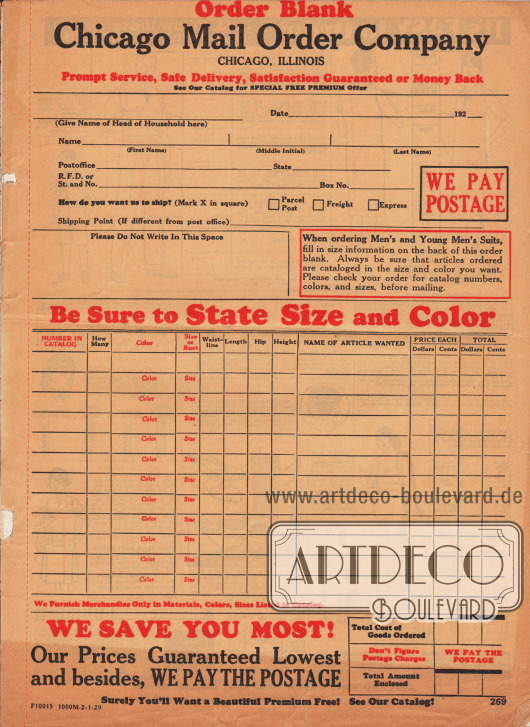 Bestellschein der Firma Chicago Mail Order Company auf der die Adresse, die gewünschten Artikel und der Gesamtbetrag zusammengerechnet werden muss. Porto und Versandkosten werden von der Firma getragen.