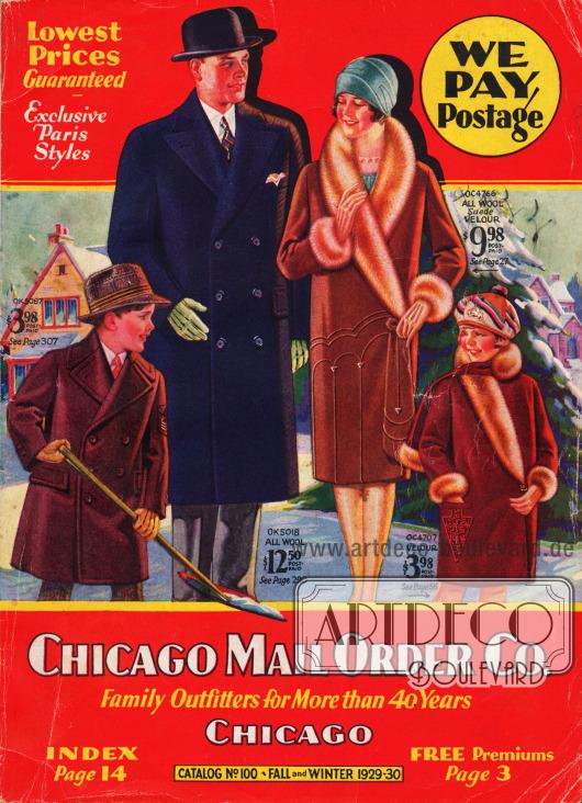 Titelseite bzw. Cover des Herbst/Winter Versandhauskatalogs Nr. 100 der Firma Chicago Mail Order Company aus Chicago, Illinois, USA von 1929-30.