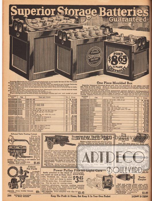 """""""Überlegene Autobatterien zum Starten von Licht und Zündung – 18 Monate Garantie"""" (engl. """"Superior Storage Batteries [for Starting Lighting and Ignition –] Guaranteed [for 18 Months]""""). Die verfügbaren Autobatterien sind für die Fahrzeugfabrikate und Jahrgänge: Ajax 1925-27, Allen 1916-22, Auburn 1920-27, Briscoe 1917-20, Buick 1914-27, Cadillac 1914-27, Chaimers 1915-24, Chandler 1918-27, Chevrolet 1916-27, Chrysler 1925-27, Cleveland 1919-27, Crow-Elkhart 1918-25, Dodge 1915-27, Dort 1916-25, Durant 1921-27, Elgin 1919-23, Essex 1919-27, Flint 1924-26, Ford 1919-27, Franklin 1916-20, Gardner 1920-27 sowie Grant 1917-23 (Tabelle geht auf der nächsten Seite 399 weiter). Im unteren Seitenbereich werden Abgasprüfventile, Befestigungsvorrichtungen für Pedalen, ein Autoanhänger, eine Trittpedale mit geriffelter Gummiauflage, eine Laufachse, Riemenscheiben zur Kraftübertragung und eine Anhängerkupplung angeboten."""