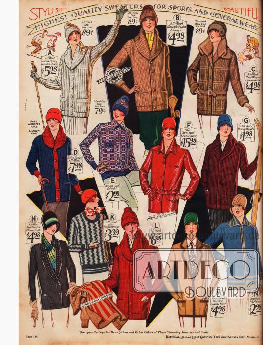 Vorrangig Stickjacken für sportliche Aktivitäten werden auf dieser Seite präsentiert. Aber auch ein Pullover (K), eine Jacke mit Gürtel aus reiner Wolle (C) und eine Lederjacke im Piloten-Stil (F) können bestellt werden. Modell E ist eine Holzfällerjacke.
