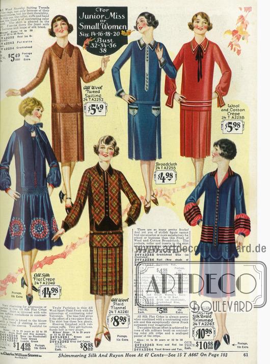 Kleider für junge Mädchen und klein gewachsene Damen aus Seiden Krepp, Tweed, Flanell, Breitgewebe sowie Woll- und Baumwollkrepp.