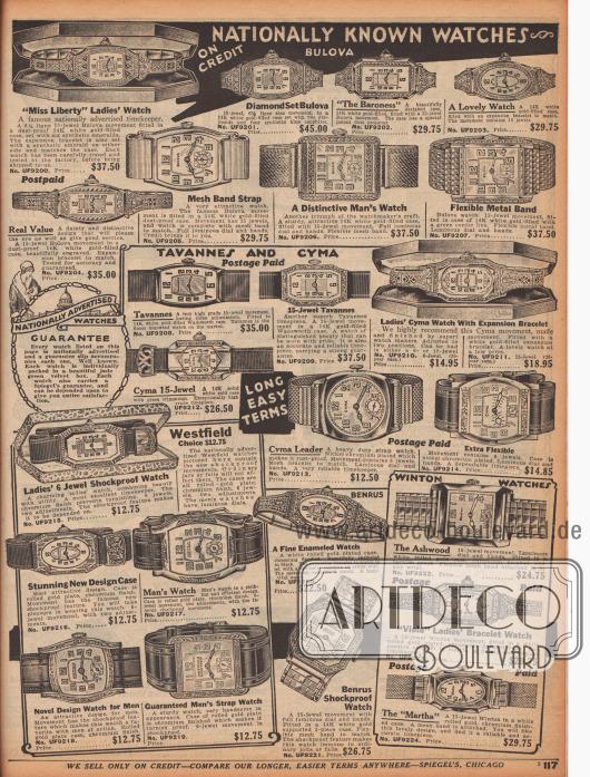 """""""Landesweit bekannte Uhren – Auf Kredit"""" (engl. """"Nationally Known Watches – On Kredit""""). Armbanduhren für Damen und Herren mit einfachen oder kunstvoll ornamentierten Gehäusen aus Weißgold, Gold oder verchromtem Nickel. Alle Uhren sind Markenprodukte von Bulova, Tavannes and Cyma, Westfield, Benrus und Winton Watches und sind mit der Spiegel Garantie versehen. Jede Uhr wurde in einem jadegrünen Samtkästchen geliefert. Die Armbanduhren für Frauen sind leicht an den schmaleren Armbändern zu erkennen. Manche Ziffernblätter bei einzelnen Uhren sind selbstleuchtend im Dunkeln."""