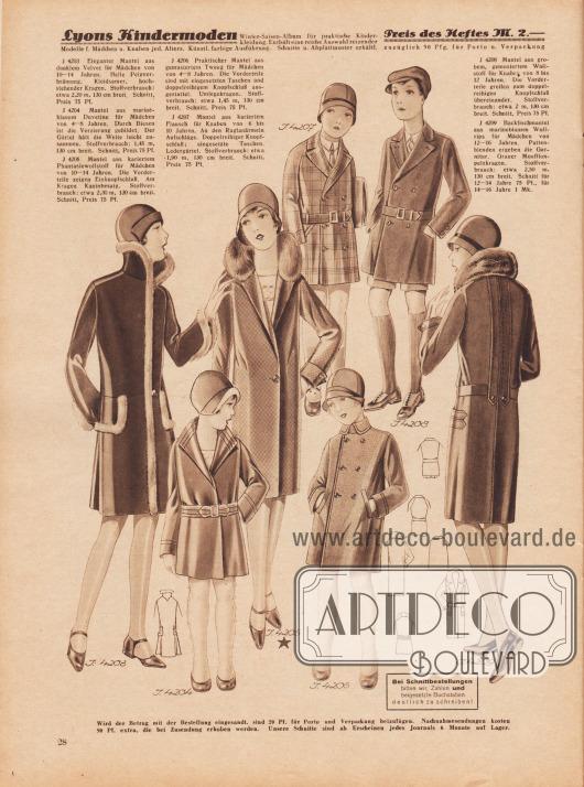4203: Eleganter Mantel aus dunklem Velvet für Mädchen von 10 bis 14 Jahren. Helle Pelzverbrämung. Kleidsamer, hochstehender Kragen. 4204: Mantel aus marineblauem Duvetine für Mädchen von 4 bis 8 Jahren. Durch Biesen ist die Verzierung gebildet. Der Gürtel hält die Weite leicht zusammen. 4205: Mantel aus kariertem Phantasiewollstoff für Mädchen von 10 bis 14 Jahren. Die Vorderteile zeigen Einknopfschluß. Am Kragen Kaninbesatz. 4206: Praktischer Mantel aus gemustertem Tweed für Mädchen von 4 bis 8 Jahren. Die Vorderteile sind mit eingesetzten Taschen und doppelreihigem Knopfschluß ausgestattet. Umlegekragen. 4207: Mantel aus kariertem Flausch für Knaben von 6 bis 10 Jahren. An den Raglanärmeln Aufschläge. Doppelreihiger Knopfschluß; eingesetzte Taschen. Ledergürtel. 4208: Mantel aus grobem, gemustertem Wollstoff für Knaben von 8 bis 12 Jahren. Die Vorderteile greifen zum doppelreihigen Knopfschluß übereinander. 4209: Backfischmantel aus marineblauem Wollrips für Mädchen von 12 bis 16 Jahren. Pattenblenden ergeben die Garnitur. Grauer Mufflon-Pelzkragen. Schnitt für 12 bis 14 und 14 bis 16 Jahre.