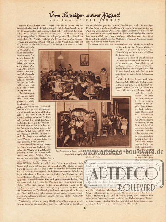 Artikel: Jacoby, Dr. Elfride, Vom Leseeifer unserer Jugend (mit zwei Abbildungen). Fotos: Keystone.