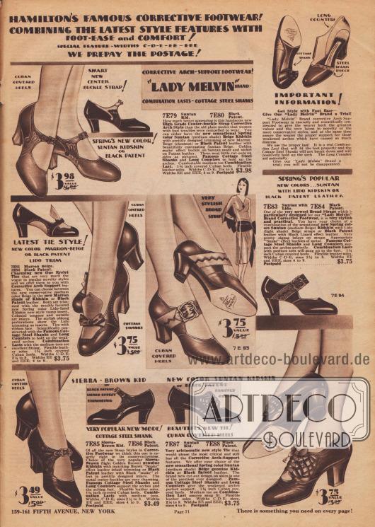 """""""Hamiltons berühmtes orthopädisches Schuhwerk kombiniert Mode mit Erleichterung und Komfort für die Füße! Besondere Schuhbreiten C, D, E, EE, EEE. Wir zahlen das Porto!"""" (engl. """"Hamiton's Famous Corrective Footwear! Combining the Latest Style Features with Foot-Ease and Comfort! Special Feature Widths-C-D-E-EE-EEE. We Prepay All Postage!""""). Kleidsame Spangenschuhe und Pumps aus Lackleder, Chevreauleder (Ziegenleder) oder zwei farblich kontrastierenden Ledern speziell für Damen, die breitere Schuhe oder eine besondere Stützung des Fußgewölbes benötigen. Dekorative Schnallen, Lederausstanzungen, Lochlinienperforationen oder Schleifen verschönern in unterschiedlichen Ausführungen jedes Schuhpaar. Modelle mit mittelhohen, dickeren kubanischen Absätzen."""