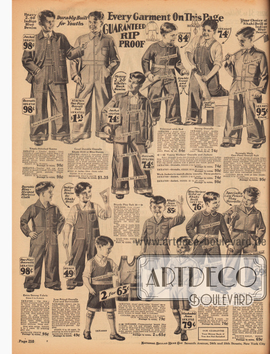 Arbeitskleidung und Overalls mit doppelt verstärkten Nähten für 3 bis 18-jährige Jungen und junge Männer. Die Jacken, Hosen und Overalls sind aus Khaki und Jeansstoff (Baumwollstoffe) hergestellt. Unten in der Mitte befinden sich auch sehr strapazierfähige Spielanzüge aus denselben Materialien.