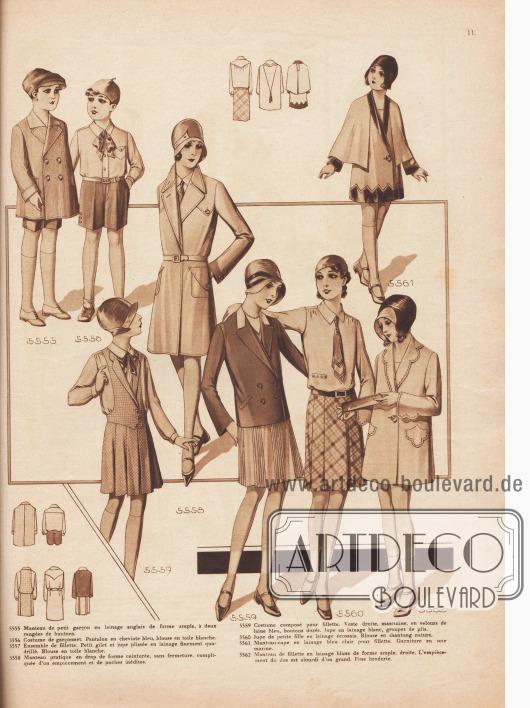 5555: Manteau de petit garçon en lainage anglais de forme ample, à deux rangées de boutons. 5556: Costume de garçonnet. Pantalon en cheviote bleu, blouse en toile blanche. 5557: Ensemble de fillette. Petit gilet et jupe plissée en lainage finement quadrillé. Blouse en toile blanche. 5558: Manteau pratique en drap de forme ceinturée, sans fermeture, compliquée d'un empiècement et de poches inédites. 5559: Costume composé pour fillette. Veste droite, masculine, en velours de laine bleu, bouton dorés. Jupe en lainage blanc, groupes de plis. 5560: Jupe de petite fille en lainage écossais. Blouse en shantung nature. 5561: Manteau-cape en lainage bleu clair pour fillette. Garniture en soie marine. 5562: Manteau de fillette en lainage blanc de forme ample, droite. L'empiècement du dos est alourdi d'un grand. Fine broderie.