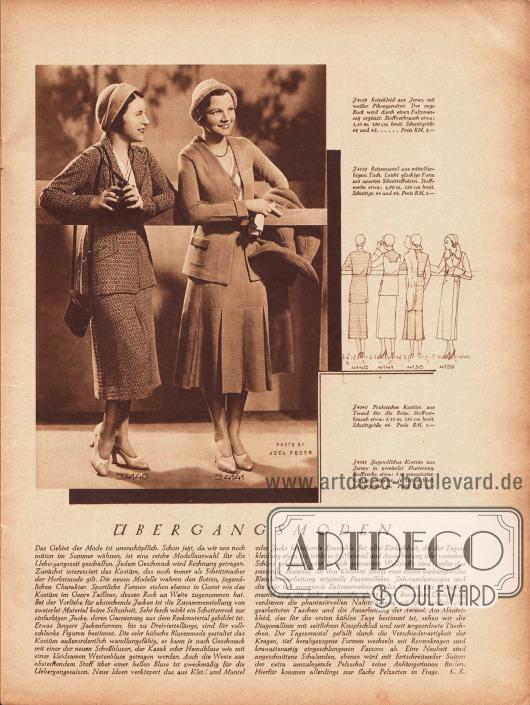 Artikel:R., K., Übergangsmoden.4140: Praktisches Kostüm aus Tweed für die Reise.4141: Jugendliches Kostüm aus Jersey in zweierlei Musterung.Foto: Joel Feder.