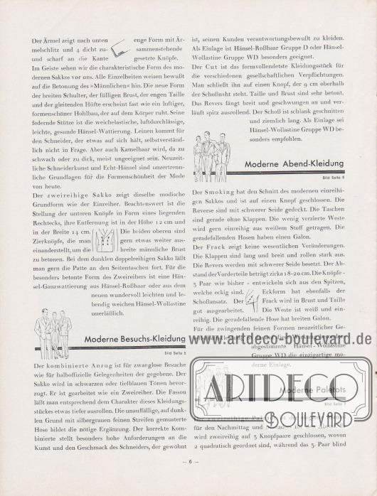 Artikel: Henschke, Bruno, Modisches vom Herbst und Winter 1930/31. Ein Modebrief an die Hänselfreunde (von Bruno Henschke, Geschäftsführer).