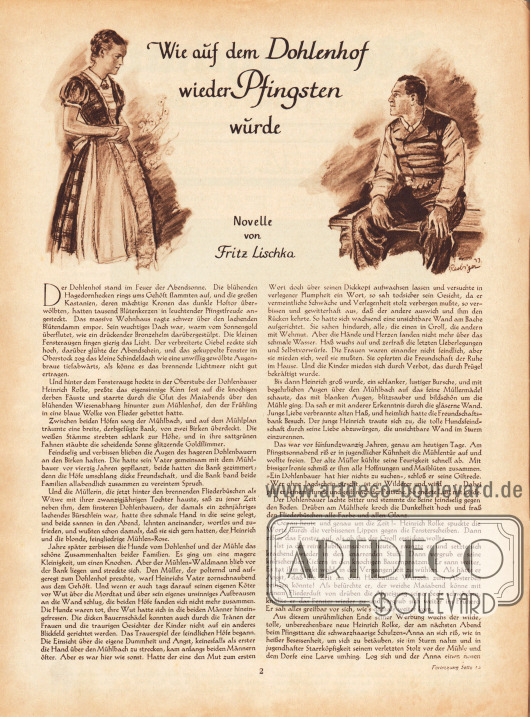 Artikel (Novelle): Lischka, Fritz, Wie auf dem Dohlenhof wieder Pfingsten wurde. Novelle von Fritz Lischka. Illustration/Zeichnung: Heinz Raebiger (1903-ca.1955).