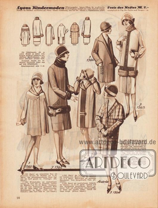 1361: Mantel aus bräunlichem Rips mit plissierten Streifen für Mädchen von 8 bis 10 Jahren. Der achselübergreifenden Passe fügt sich der Stoff gereiht an. Pelzkragen.1362: Winterkostüm aus marineblauem Velours de Laine mit rot gestickten Taschen für Mädchen von 14 bis 16 Jahren. Pelzbesatz. Der mit einer Faltenpartie gearbeitete Rock und die Jacke haben rote Paspelverzierung.1363: Mantel aus holzbraunem Duvetine mit himbeerrotem Besatzstreifen für Mädchen von 6 bis 8 Jahren. Biberkragen mit passenden Manschetten. Vorn übergeknöpfte Patte.1364: Mantel aus modefarbenem Gabardine für Mädchen von 8 bis 10 Jahren. Seitlich sind dem durchgehend geschnittenen Mantel gefaltete Teile mit Knopfbesatz zwischengefügt, an denen sich Taschen bilden. Schluß mit einem Knopf.1365: Winterkostüm aus hochrotem Kasha mit Stickereiverzierung auf schwarzem Grund für Mädchen von 14 bis 16 Jahren. Fehkragen und -manschetten sowie passender Besatz am unteren Jackenrande. Vorn Taschen. Rock mit Faltenpartie.1366: Pelerinenmantel aus kariertem Wollstoff für Mädchen von 10 bis 12 Jahren. Ärmelaufschläge und Taschenpatten sind schräg kariert. Tiefer Schalkragen.
