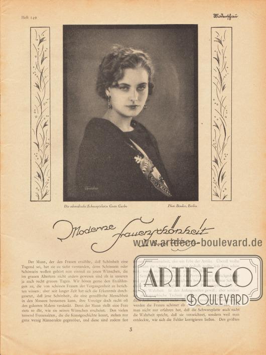 Artikel:Ulitzsch, Ernst, Moderne Frauenschönheit.Mit einer Fotografie der schwedischen Filmschauspielerin Grete [Greta] Garbo (1905-1990).Foto: Atelier Binder, Berlin.