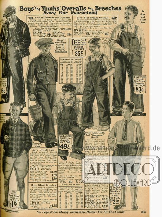 Arbeitskleidung für Jungs: Overalls aus Jeansstoff, Knickerbockerhosen und ein Blouson (unten links).