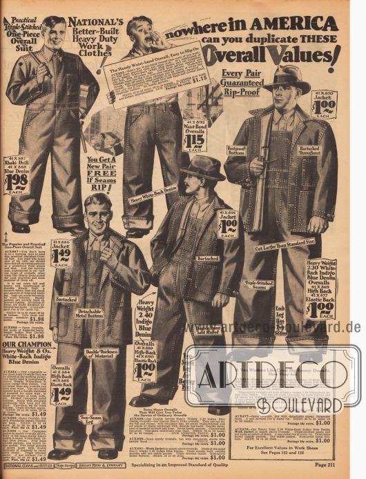 Günstige Arbeitskleidung für Männer, wie Jacken, Hosen und Overalls aus Khaki und Jeansstoffen (Baumwollstoffe). Die Nähte sind doppelt verstärkt für ein Höchstmaß an Strapazierfähigkeit. Der weite Schnitt der Kleidung ermöglicht ein bequemes Arbeiten.