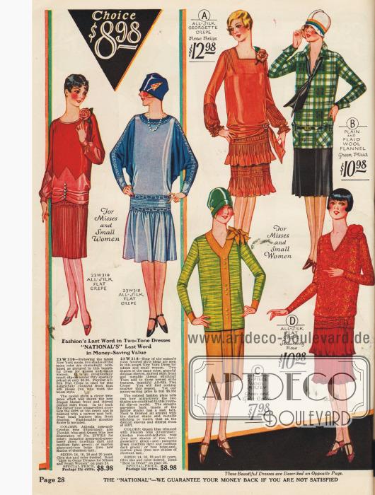 Ein– und zweiteilige Kleider mit kontrastierenden Farbeffekten. Zwei Kleider mit plissierten Volantröcken.