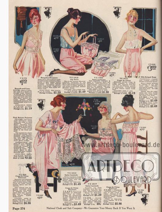 """Damenunterwäsche und Nachtwäsche. Damenuntertaillen (engl. """"camisole"""" oder """"corset cover""""), Pumphöschen, ein Korsett, ein einteiliger Pyjama und Unterröcke bzw. Petticoats. Die Pumphöschen, Unterröcke und Untertaillen besitzen elastische Bändchen an den Taillen oder Knöcheln. Die verwendeten Stoffe sind Brokat, Seiden-Baumwoll-Bengalin, japanisches Satin oder Crêpe de Chine. Die Petticoats sind reich mit Spitzeneinsätzen ausgestattet, z. B. Cluny Spitze, Schattenspitze oder Filet Spitze. Der Pyjama ist aus Batist und mit Stickereien und Hohlsaumstickerei verziert."""