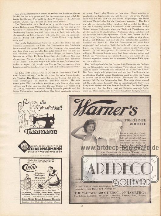 Artikel: O. V., Anekdoten. Werbung: Nähmaschinen von Seidel & Naumann AG, Dresden; Cirine, flüssiges Bohnerwachs, Cirine-Werke Böhme & Lorenz, Chemnitz; Warner's Korsetts, The Warner Brothers Co. GmbH, Hamburg 6.