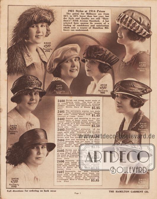"""1921 Mode zu 1914 Preisen. Die Preise für Damenhüte sind zwischen 35% und 50% niedriger als im letzten Jahr, aber Stil und Qualität sind immer noch """"Hamilton's"""" Fifth Avenue Standard. Ein hier ausgewählter Hut versichert seiner Trägerin ein Gefühl von Vertrauen und Zufriedenheit, das nur eine Trägerin von Hamilton Hüten verstehen kann.  2400: Stilvolles und elegantes Modell aus Batavia-Gewebe. Die Vorderseite der nach oben umgeschlagenen Krempe ist mit ansprechenden Mustern bestickt; mit glyzerinierter, langer Feder verziert. Farben: Braun, Marineblau oder Henna. Ehemals 9,00 $. Preis… 5,95 $. 2401: Die allseits beliebte Schottenmütze aus dem landesweit beworbenen """"velourslederartigem"""" Stoff. Farben: Weiß, Gelbbraun. Smaragdgrün oder Kopenhagen Blau. Früher 2,35 $. Preis… 1,45 $. 2402: Populär und schick ist dieser Hut aus schickem Strohgeflecht. Der """"Kragen"""", der sich ganz um den Hut herum erstreckt, ist aus einem haarähnlichen Geflecht gefertigt und vorne mit neuartigen Ornamenten versehen. Nur in Schwarz. Früher 8,50 $. Preis… 5,50 $. 2403: Schönes und attraktives """"aus dem Gesicht"""" Modell; Krone aus feinem All-Over-Geflecht; Krempe aus Satin. Eingefasst mit geknotetem Band in harmonierenden Farben. Farben: Schwarz oder Marineblau mit Kopenhagen blauem Band, Braun mit hellbraunem Band. Ehemals 9,00 $. Preis… 5,95 $. 2404: Neu und schick ist dieser kleine Hut mit abfallender Krempe, der aus einem originellem Strohgeflecht besteht und mit einem Lacklederband und einer Schleife verziert ist. Farben: Schwarz, Umbra (Erdbraun) oder Marine. Früher 6,00 $. Preis… 3,75 $. 2405: Stilvoller und kleidsamer handgefertigter Hut aus Seiden-Georgette-Krepp, Vorderseite der Krempe aus feiner, satinierter Borte. Garniert mit der Borte wie abgebildet. Farben: Rein Schwarz, rein Marineblau oder sandfarbener Hut mit brauner Front. Früher 9,00 $. Preis… 5,50 $. 2406: Schönes Modell mit kurzer, fallender Krempe und bauchiger Krone aus feinem, glänzendem Strohgeflecht; passend mit kurze"""