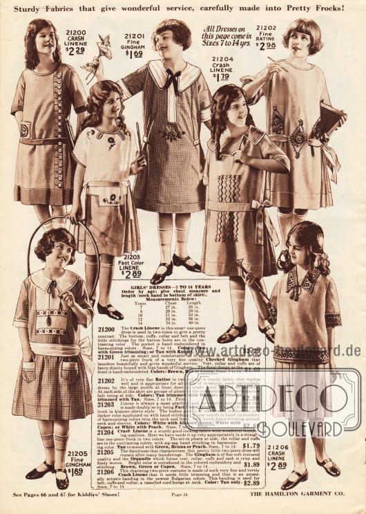 Kindermode für 7 bis 14-jährige Mädchen. Die Kleider sind aus Leinen, Gingham und Ratiné. Die für die warme Jahreszeit bestimmten Kleidchen zeigen allesamt halblange Ärmel sowie kleine, feine Stickereien. Oben links ein Mantelkleidchen.