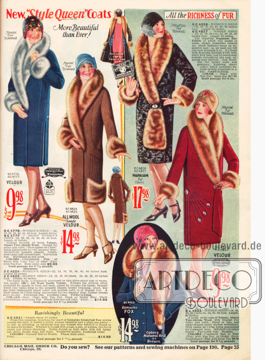 Seite mit kolorierten Fotographien. Mäntel mit reichen Pelzkragen und unten einem Pelzschal aus importiertem Fuchs.