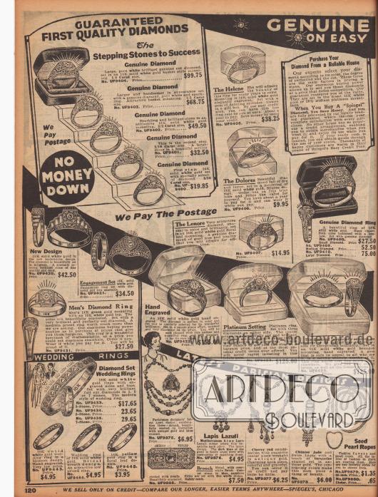 """""""Echte [Diamanten] – Auf günstigem [Kredit]"""" (engl. """"Genuine [Diamonds] – On Easy [Credit]""""). Ringe und Hochzeitsringe aus Weißgold mit echten Diamanten für 3,95 bis 155,00 Dollar (1929 weit mehr als ein Monatslohn eines Angestellten). Die Ringe konnten auf Wunsch auch graviert werden. Unten wird zudem Pariser Modeschmuck (Halsketten mit Karneolen, Lapislazuli oder chinesischer Jade) und eine Metallbrosche mit Perlen angeboten."""