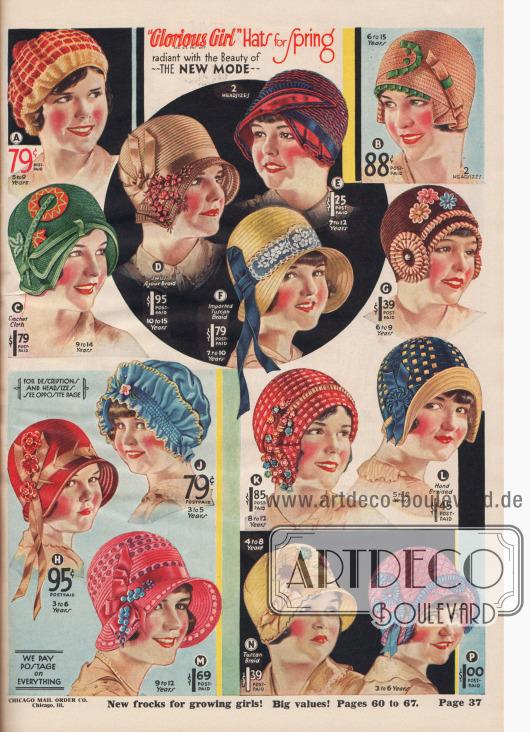 """""""'Glorious Girl' Frühlingshüte mit der strahlenden Schönheit – der neuen Modelinie"""" (engl. """"'Glorious Girl' Hats for Spring radiant with the Beauty of – The New Mode""""). 14 verschiedene Hauben, Schuten, Hüte und Mützen für Mädchen im Alter von 3 bis etwa 14 Jahre. Die Hüte sind aus Visca-Stroh und Maisgarn, """"Sunrise"""" Hanf-Stroh, gehäkeltem oder gekräuseltem Visca-Strohgewebe, importiertem Schweizer Ajour-Stroh, Rayon Faille, importiertem Livorno- bzw. Tuscan-Stroh oder Pyroxylin (Schießbaumwolle bzw. Cellulosenitrat) hergestellt. Pompons aus Seidengarn, Ripsbänder, Schleifen, Stickerei-Applikationen, Bänder aus Bengaline, importierte Plüsch-Blumen, Federkiel-Effekte aus verarbeitetem Stoff, Écru-Netzspitze, Samt-Blüten, Krempen-Rüschen, Rosenknospen aus Seide, Flitterfäden, Büschel aus importierten Vergissmeinnicht, Satin-Messaline Bänder oder netzartige Borte mit kreuz und quer verwobenem Muster dienen als Aufputz der Modelle."""