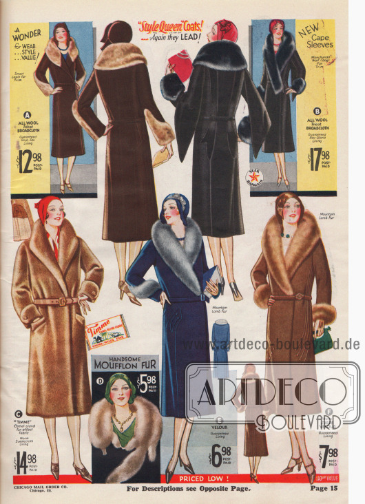 """""""Style Queen""""-Mäntel führen wieder! Pariser Adaptierung. (A) 4 C 4794 – DAMENGRÖSSEN 34, 36, 38, 40 Zoll Brustumfang. Länge 46 Zoll. 4 C 4795 – FRÄULEIN GRÖSSEN 14 bis 20 J.; 32, 34, 36, 38 Zoll Büste. Länge 43 Zoll. Ein berühmter Filmstar, der auf dem Rückweg von Frankreich zwischen zwei Zügen eine Pause einlegte, trug das Original dieses schönen Mantels. Hier haben wir ihn in seiner ganzen Schönheit reproduziert und präsentieren ihn zu einem Bruchteil dessen, was der Filmstar zweifellos für ihren Mantel bezahlt hat. Aus warmem, sehr elegantem, hochwertigem Wolltrikot-Breitgewebe mit einem bewunderungswürdigen, kuscheligen Paquin-Kragen und raffinierten Manschetten aus schönem beigefarbenem Lapin-Pelz (geschorenes französisches Kaninchen), den man tatsächlich selten bei einem Mantel findet, der so günstig ist. Glänzendes, für zwei Saisons garantiertes Ray-o-tex (Rayon) Futter. Warm zwischengefüttert. Wunderbarer Wert! FARBEN: Manila Braun (dunkel), Schwarz oder Marineblau (dunkel), alle mit beigefarbenem Fell. Bitte Größe und Farbe angeben. Preis, portofrei… 12,98 $. Kapuzenärmel. (B) 4 C 4812 – DAMENGRÖSSEN 34, 36, 38, 40 Zoll Brustumfang. Länge 45 Zoll. 4 C 4813 – FRÄULEIN GRÖSSEN 14 bis 20 J.; 32, 34, 36, 38 Brustumfang. Länge 43 Zoll. Wenn Paris nach """"Capes"""" ruft fängt jeder Modeschöpfer an, Capes zu entwerfen. Aber nur ein Meisterdesigner wie Paul Caret, unser Pariser Modemacher, würde es """"wagen"""", etwas so herausragend Anderes zu entwerfen. Ein Modell, auf das alle mit respektvollem Staunen blicken. Die Umhänge an den Ärmeln sind individuell, feminin, schneidig und nur eines der vielen Dinge, die diesen Mantel charmant machen. Das Material ist warmes, modisches und extrafeines Wolltrikot-Breitgewebe. Großer, schöner Schalkragen und spitze Manschetten aus hochwertigem Mandschurischem Wolf. Glänzendes Ray-Gloria-Futter, garantiert für zwei Saisons. Ein Star-Schnäppchen! FARBEN: Schwarz, Marineblau (dunkel) oder Manila Braun (dunkel), alle mit schwarzem Fell. Grö"""