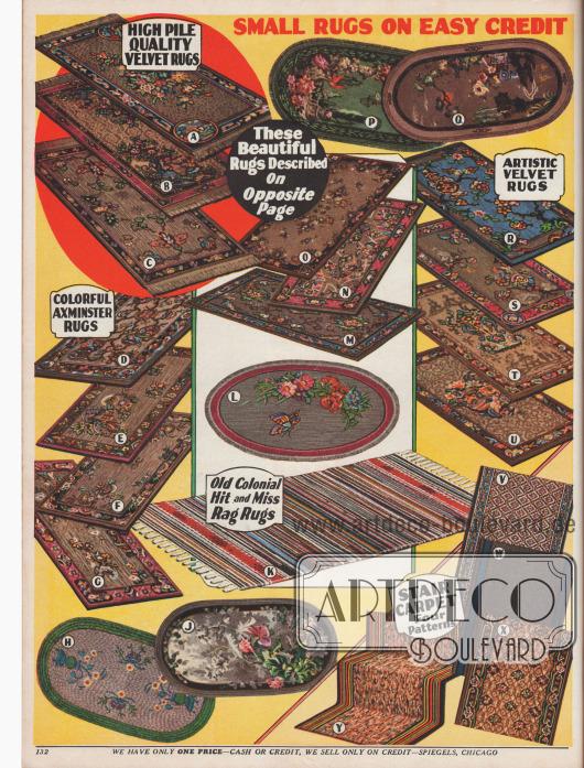 Gewebte kleine Teppiche mit überwiegend chinesischen Motiven oder Blumen-Ornamenten. Einzelne Teppiche besitzen an ihren Enden Fransen. Maße reichen von 27 x 40 bis 36 x 76 in (68,6 x 91,44 bis 101,6 x 193 cm). Unten rechts: Teppiche zum Verlegen auf der Treppe, die per Yard bestellt und berechnet werden.