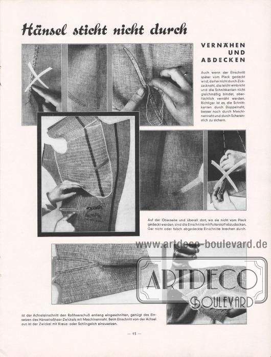 """""""Hänsel sticht nicht durch"""". Verarbeitungshinweise für den Hänselstoff, hier am Beispiel vom Vernähen und Abdecken."""