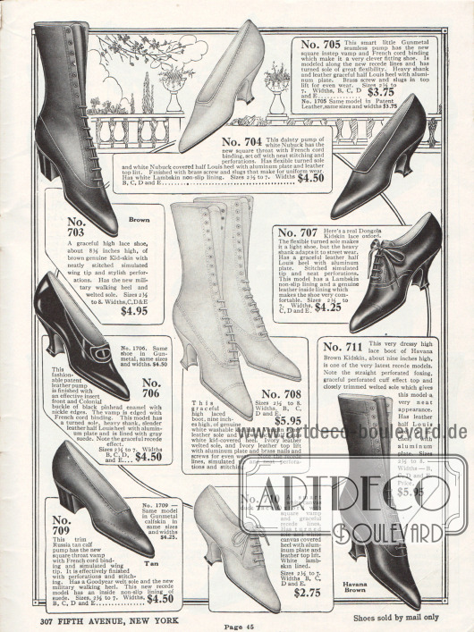 Seite mit drei Pumps, einem Kolonialpump mit Schnalle, zwei Oxfords und drei Paaren Stiefeletten. Die Schuhe sind aus Ziegenleder, Nubukleder (Rauleder), Kalbsleder, Lackleder und Kanevas. Die Damenschuhe besitzen fast ausschließlich geschwungene Louis XIV Absätze und nur zwei Modelle zeigen gradlinige und grobe Militärabsätze. Viele Schuhe sind mit dekorativen Perforationen versehen.