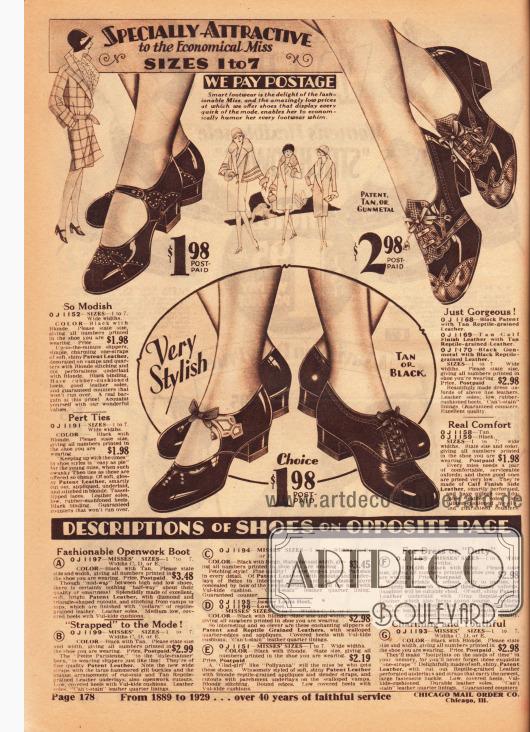 Elegante Schuhe mit niedrigen Absätzen für Mädchen und junge Damen aus Lackleder und bequemem Kalbsleder. Die Oxfords oben rechts sind zudem mit Reptilleder effektvoll kombiniert. Ausstanzungen, Perforationen und feine Nähte zieren jedes Paar. Im unteren Bildbereich sind die Erklärungen für die folgende Seite 179.