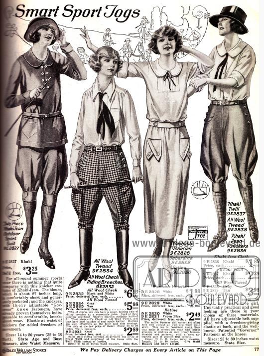 Sportkleidung für Damen mit Knickerbockerhosen und krawattenartigen Schleifen.