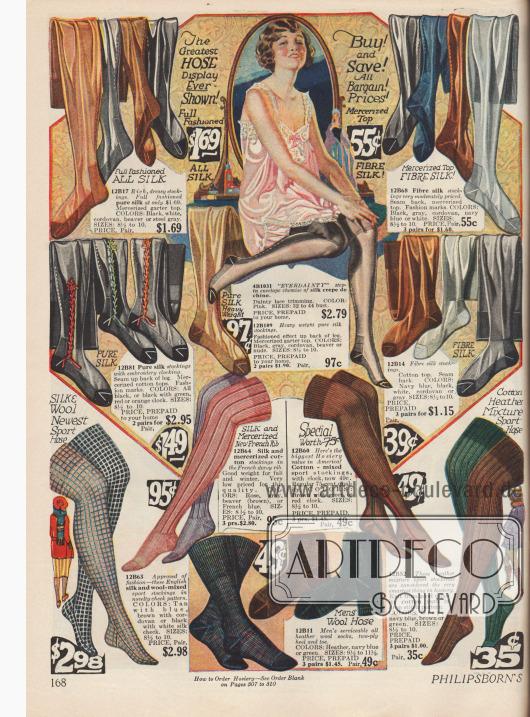 Damenstrümpfe aus reiner Seide und Seidenmischstoffen. Die Farbpalette erstreckt sich von hellbraun, grau, blau bis hin zu schwarz. Manche Seidenstrümpfe werden auch bestickt (Mitte links). Dicke Strümpfe aus Seide, Wollmischstoffen, Baumwolle und merzerisierte Baumwolle werden unter den kürzer werdenden Röcken im Winter getragen. Socken für Männer werden unten in der Mitte beworben.