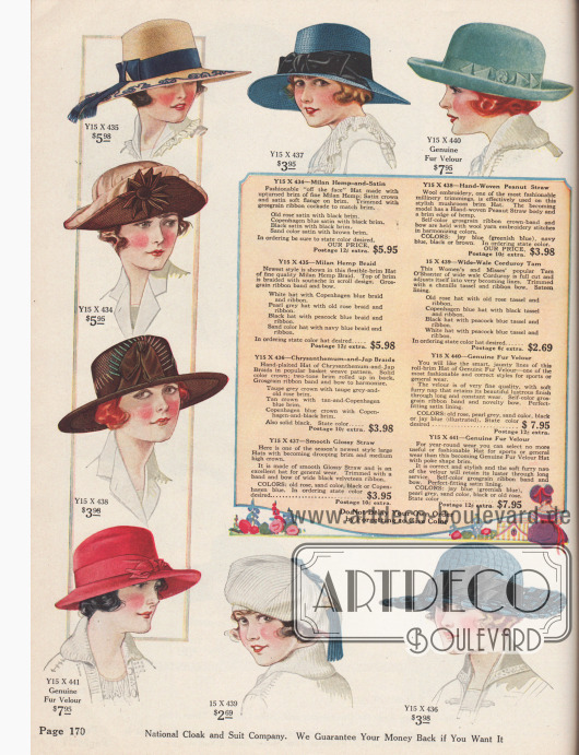 """Überwiegend breitkrempige Sommerhüte für Strand, Sport, Stadt oder Kurort aus Milan-Hanf und Satin, von Hand geflochtenem Chrysanthemen-Geflecht und japanischem Strohgewebe, Glanzstroh, Erdnuss-Stroh, breit gewebtem Kord oder auch Pelz-Velours. Die eleganten Damenhüte zeigen glatt gearbeitete, rundum nach oben gebogene oder auch schutenartig gebogene Krempen. Die Krempe des Modells Y15X434 ist vorne mittels eines Rosetten-Ornaments aus Ripsband am Hutkopf befestigt, was als """"aus dem Gesicht"""" Effekt bezeichnet wird (engl. """"off-the-face Hat""""). Unten mittig ist eine weiße Schottenmütze (engl. """"Tam O'Shanter"""") zu sehen. Als Zierrat dienen breite Ripsbänder oder Samtbänder mit Schleife, Soutache-Stickerei, Wollstickerei oder Chenille-Quasten."""