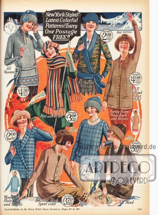 Strickpullover, Schals und Woll-Mützen für kalte Wintertage und sportliche Aktivitäten. Einige der Pullover können wie Jacken zugeknöpft werden.