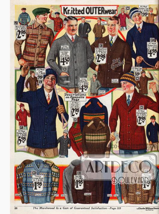 Strickpullover und Jacken für Männer aus Wolle.