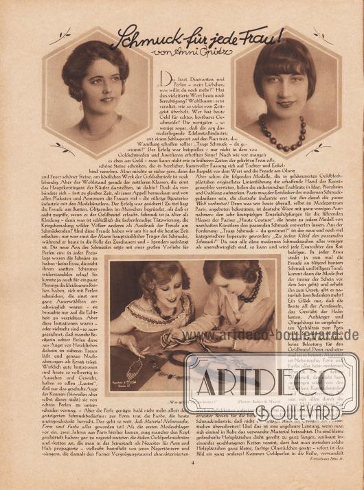 """Artikel: Opitz, Anni, Schmuck für jede Frau! (von Anni Opitz).  Der Artikel zeigt drei Fotografien von Damen mit Halsketten und zwei Frauen, die Halsketten bewundern. Die Bildunterschrift des unteren Fotos lautet """"Was gefällt dir am besten?"""". Fotos: Atelier Becker & Maass, Berlin."""