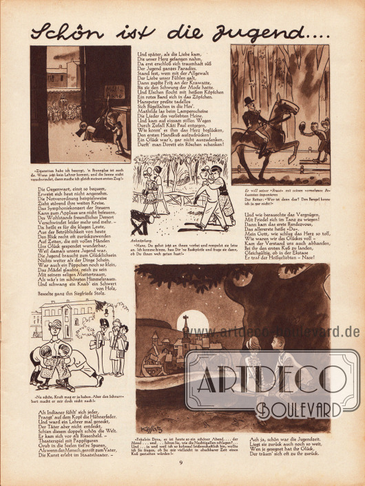 """Zeichnungen und kurze Reime zur Unterhaltung mit dem Titel """"Schön ist die Jugend..."""". Illustrationen: Hans Kossatz (1901-1985)."""