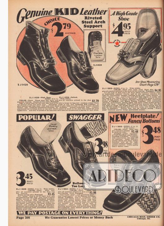 """Rahmengenähte Herrenschuhe (engl. """"Goodyear welted""""). Anzug- und Straßenschuhe aus Chevreauleder (Ziegenleder), chromgegerbtem Hirschleder, Lackleder, Kalbsleder oder kieselsteinartig genarbtem Leder. Neben einem halbhohen Straßenschuh im Derbyschaftschnitt und offener Schnürung, befinden sich drei weitere Modelle mit Derbyschnitt sowie zwei Oxford-Schuhe mit geschlossener Schnürung im Angebot. Modelle mit Lyralochung und kantigen Schuhkappen. Oben rechts ein sportlicher, zweifarbiger Freizeitschuh für den Golfclub oder den Strand (engl. """"saddle shoe"""")."""