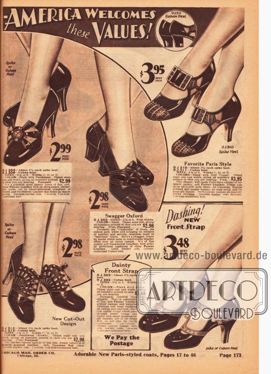 Pumps, Oxfords, Schnallenschuhe und Schuhe mit T-Schnalle für Damen. Die Schuhe sind aus Lackleder oder Chevreauleder gefertigt und wurden teilweise mit andersfarbigem und reptilartig genarbtem Leder kombiniert. Ausstanzungen, Ornamente, Ziernähte und Perforationen wurden höchst unterschiedlich zur Verschönerung der Schuhe eingesetzt. Besonders extravagant erscheint das Paar links unten.