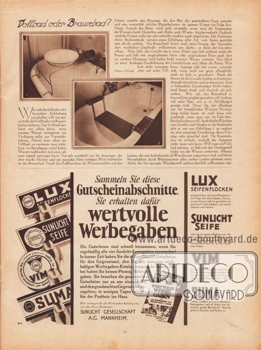 """Artikel: O. V., Vollbad oder Brausebad?  Dem Artikel sind zwei Fotografien beigefügt, die ein Drahtgestell als Aufsatz für die Badewanne (Abb. 1) und einen Badewannen-Sitz (Abb. 2) zeigen. Fotos: S. Frank.  Werbung: """"Sammeln Sie diese Gutscheinabschnitte. Sie erhalten dafür wertvolle Werbegaben. Die Gutscheine sind schnell beisammen, wenn Sie regelmäßig alle vier Sunlicht-Erzeugnisse verwenden!"""", Lux Seifenflocken, Sunlicht Seife, Vim und Suma, Sunlicht Gesellschaft A.G., Mannheim."""