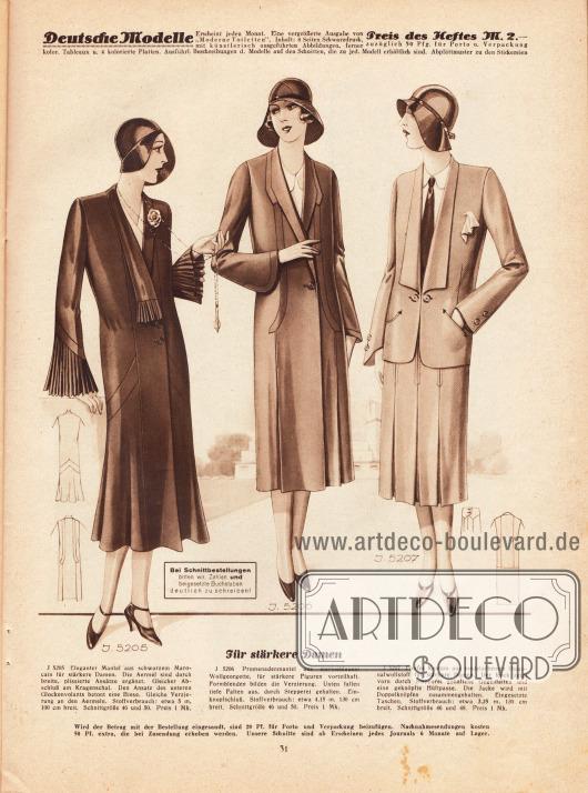 5205: Eleganter Mantel aus schwarzem Marocain für stärkere Damen. Die Ärmel sind durch breite, plissierte Ansätze ergänzt. Gleicher Abschluß am Kragenschal. Den Ansatz des unteren Glockenvolants betont eine Biese. Gleiche Verzierung an den Ärmeln.5206: Promenadenmantel aus marineblauem Wollgeorgette, für stärkere Figuren vorteilhaft. Formblenden bilden die Verzierung. Unten fallen tiefe Falten aus, durch Stepperei gehalten. Einknopfschluß.5207: Flottes Kostüm aus modefarbenem Diagonalwollstoff für stärkere Damen. Der Rock zeigt vorn durch Stepperei gehaltene Gegenfalten und eine geknöpfte Hüftpasse. Die Jacke wird mit Doppelknöpfen zusammengehalten. Eingesetzte Taschen.