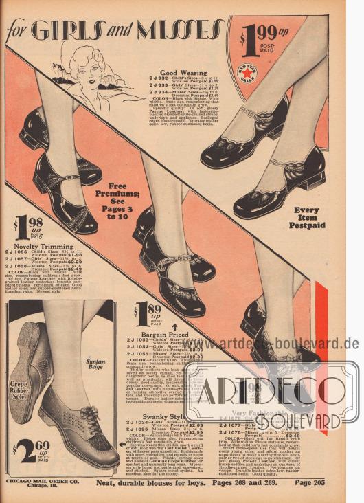 """""""Speziell entworfen für Mädchen und Backfische"""" (engl. """"[Specially Designed] for Girls and Misses""""). Sandalen mit Schnalle aus schwarzem Lackleder sowie ein sportlicher Oxford-Schuh aus sonnenbraunbeigem Kalbsleder für junge Mädchen und Backfische von 4 bis etwa 16 Jahren. Die Schuhpaare sind mit Ausstanzungen, Perforationen, Leder-Underlays, Stickereien oder Schleifen versehen und teilweise mit reptilienartig genarbten Ledersorten dekorativ ergänzt."""