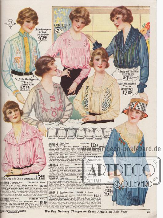 Seite mit sechs Blusen und einer Kasack (hüftlange Bluse). Die Blusen sind aus Seiden-Georgette Krepp, Voile (Schleierstoff) oder gestreiftem Taft und die Kasack ist aus Rajah (Seiden-Baumwoll-Gewebe). Die Modelle sind mit Spitze im venezianischen Muster, Stickereien, Hohlnähten, Biesen oder Zierknöpfen ausgestattet. Die Kragen sind breit und tief geschnitten (Matrosenkragen). Zwei Versionen ohne und eine Bluse mit konvertierbarem Kragen. Die Ausschnitte sind überwiegend rund oder V-förmig.
