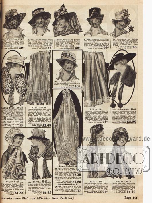 Hutschleier, Brautschleier, Federboas, ein Schultercape aus Marabufedern oder Schleierschals zum Festbinden des Hutes für schnelle Automobilfahrten.