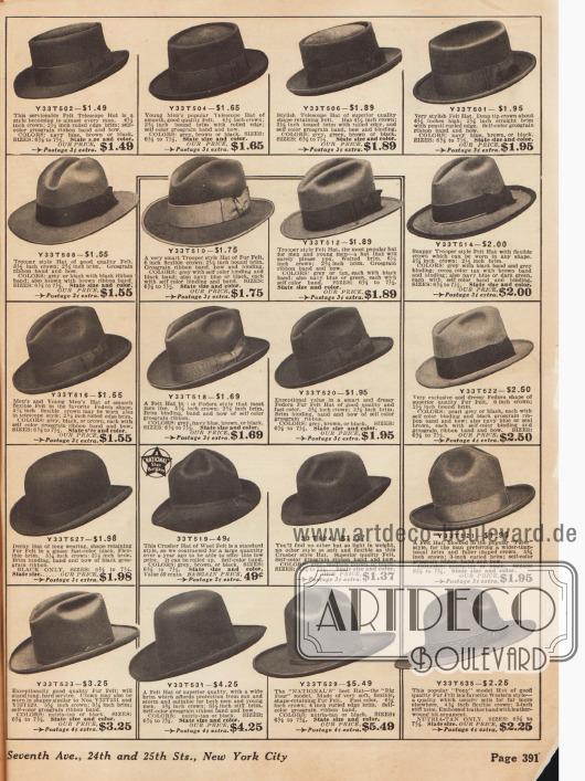 Auswahl an Straßenhüten für Männer.