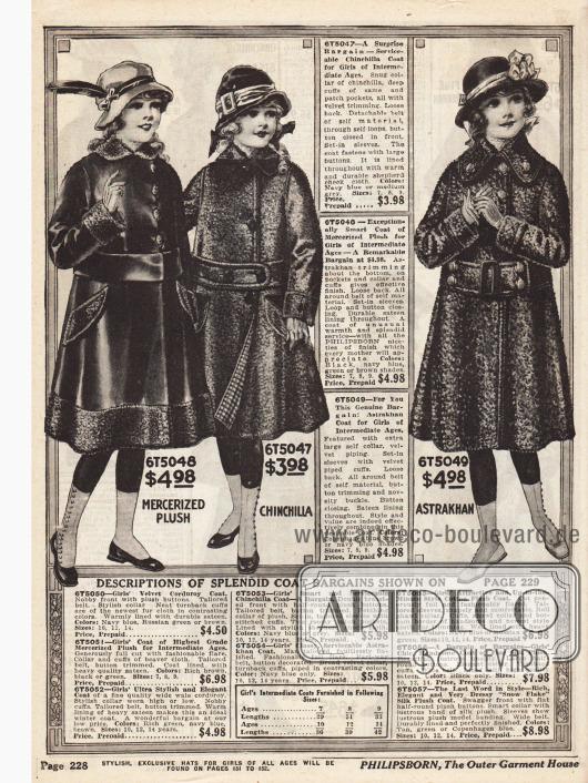 Drei Mäntel für Mädchen zwischen sieben und 14 Jahren aus merzerisiertem Plüsch, Chinchilla und Astrachan (Karakulschaf oder Persianer Breitschwanzfell). Im unteren Bildteil befinden sich die Erklärungen für die Mäntel der nächsten Seite.