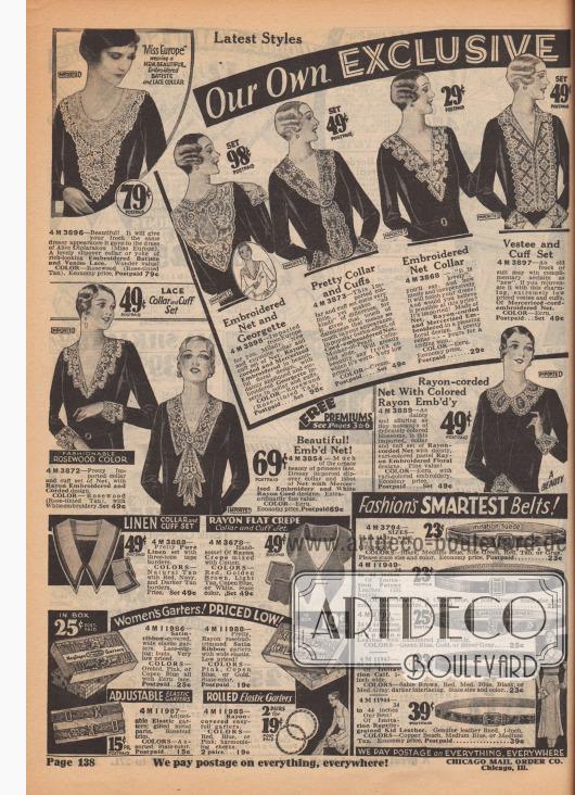 """""""Miss Europa [1930]"""" trägt einen NEUEN, SCHÖNEN KRAGEN, aus besticktem BATIST und SPITZE. 4 M 3896 – Schön! Es wird Ihrem Kleid das gleiche elegante Aussehen verleihen wie dem Kleid von Alice Diplarakou (Miss Europa [Lady Aliki Russell, geb. Aliki Diplarakou, 1912-2002, Anm. M. K.]). Ein schöner Umlegekragen oder eine Passe aus reichhaltig aussehendem besticktem Batist und venezianischer Spitze. Wunderbarer Wert! FARBE: Rosenholz (Rosa getöntes Hellbraun). Sparpreis, frankiert… 79c.  Neueste Modelle. Unsere eigenen EXKLUSIVEN [IMPORTIERTE KRAGEN-GARNITUREN. Niedrigste Preise]. 4 M 3898 – Besticktes Netzgewebe und Georgette. Importiert aus Europa für Sie, Madame. Neue und exquisite Kragen- und Manschetten-Garnitur aus Netzgewebe, Rayon-Kordeln und merzerisiertem Gewebe, bestickt in schönem floralem Design, mit zierlichen applizierten und gestickten Georgette-Einsätzen in Kragen und Manschetten. FARBE: Rosenholz (Rosa getöntes Hellbraun). Portofrei… Satz 98c. 4 M 3873 – Hübscher Kragen und Manschetten. Diese importierte Kragen- und Manschetten-Garnitur kostet sehr wenig, macht aber """"den großen"""" Unterschied, denn es verleiht den Hauch von Anmut, der so viel für Ihr Aussehen bedeutet. Im beliebten Fichu-Effekt, aus Kordel-gesticktem Netzgewebe. Mit verschiebbarer Perlmutt-Zelluloid Schließe. Es wird jedes Kleid, zu dem es getragen wird, sehr schön machen. Sehr preisgünstig. FARBE: Cremefarben. Portofrei… Satz 49c. 4 M 3868 – """"Das ist schön"""", werden Sie sagen, und wie schön und preiswert es Ihr Kleid vervollständigen wird! Würden Sie glauben, dass es zu diesem Preis möglich ist? Es ist importiert! Hergestellt aus Netzgewebe, Rayon-Kordeln und merzerisierter Stickerei in einem angenehmen floralen Design. Ein hübscher Kragen – für Sie zum kleinen Preis. FARBE: Écru. Sparpreis, frankiert… 29c. 4 M 3897 – Ein altes Kleid oder ein alter Anzug kann als """"neu"""" gelobt werden, wenn Sie ihn mit diesem reizenden, äußerst preisgünstigen Plastron und Manschetten verjüngen. Aus merzeri"""