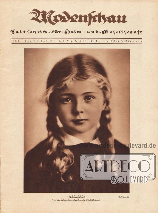 """Titelblatt mit dem großformatigen Mädchenbildnis, dass """"[a]us der Jahresschau 'Das deutsche Lichtbild 1933'"""" entstammt. Foto: Brandl."""